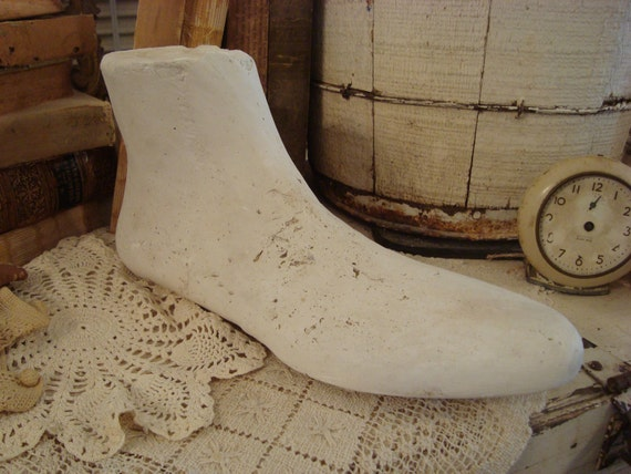 Vintage Shabby Chippy Plaster Foot Mannequin