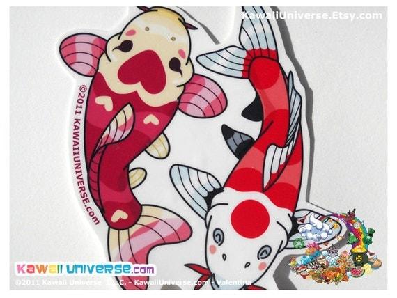 Kawaii Koi Yin Yang Maroon and White - Vinyl Sticker ( Medium )