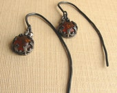 Amber and Sterling Silver Lamppost Earrings