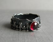 Fine Silver and Sterling Silver Ring with Garnet - Relic