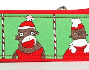 Sock Monkey Green Christmas Martingale Collar