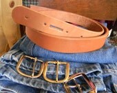 Natural Tan Leather BELT -1 1/2 inch wide -12oz hide -unfinished- tell me your size (48 inch max)
