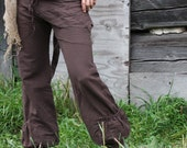SALE.. HEMP PANTS - Chocolate Brown - Hippie faery boho folk cottage chic wrap trousers