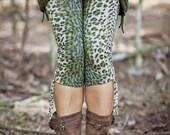 Green leopard Tassle leggings