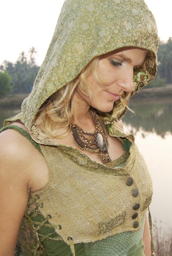 Green Lotus vest with hood