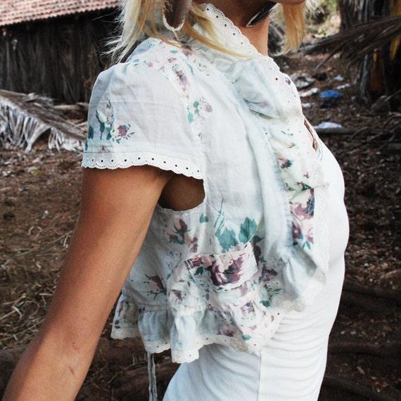 SALE.. Shabby chic roses Porcelain vest with purple lace trim