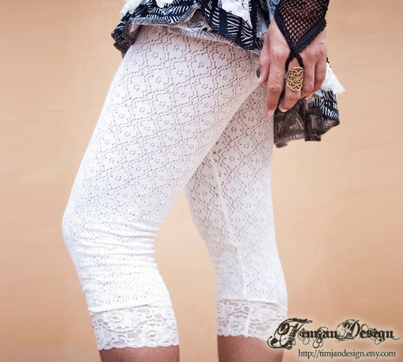 White Jade Lace leggings - size XS/S and M