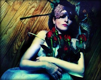 Throw a Rose, Photographic Portrait of a Woman, Merle Pace