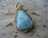 Larimar gold wire wrapped pendant