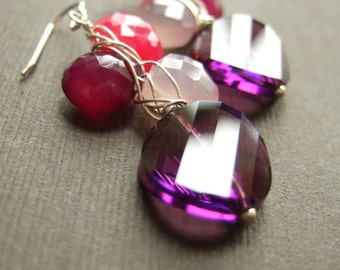 Statement Bold Swarovski and Gemstone Silver Earrings Gift for sister, mom, aunt, girlfriend, wife