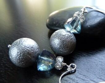 Handmade Topaz, Crinkle Glass Pearl, Swarovski, Sterling Silver. Essex Earrings by Anastassia Designs