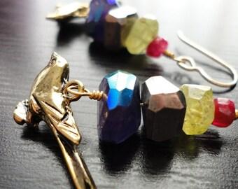 Brass Birds, Ruby Moonstone, Grossular Garnet, Silver Pyrite, Amethyst, 14kt Gold Filled. Earrings by AnastassiaDesigns