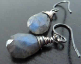 Labradorite and Oxidized Sterling Silver. Flash Earrings by Anastassia Designs