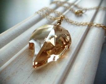 Golden Shadow Swarovski Crystal Leaf, 14t gold necklace. Golden Shadow by Anastassia Designs