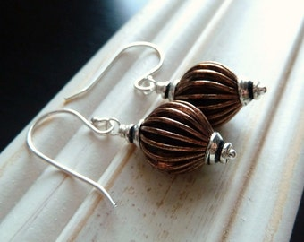 Rustic, Mixed Metal, Copper and Sterling Silver Earrings by Anastassia Designs