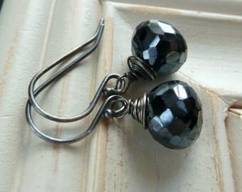 Statement Bold Modern Minimal Geometric Black Shimmer Spinel Earrings Gift for sister, mom, aunt, girlfriend, wife