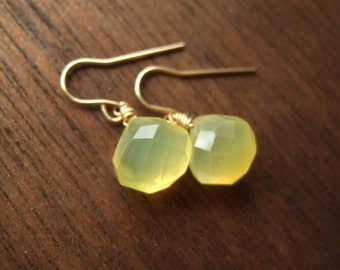 Lemon Yellow Chalcedony,14 kt Gold Filled. Drops of Sun Earrings by Anastassia Designs on Etsy.