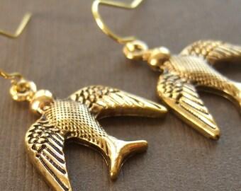 Gold, Brass, Animal, Bird. Earrings by Anastassia Designs Gift for women, mom, sister, daughter, wife