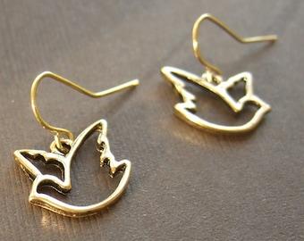 Filigree Bird Animal Golden Flight Earrings Gift for women, mom, sister, daughter, wife