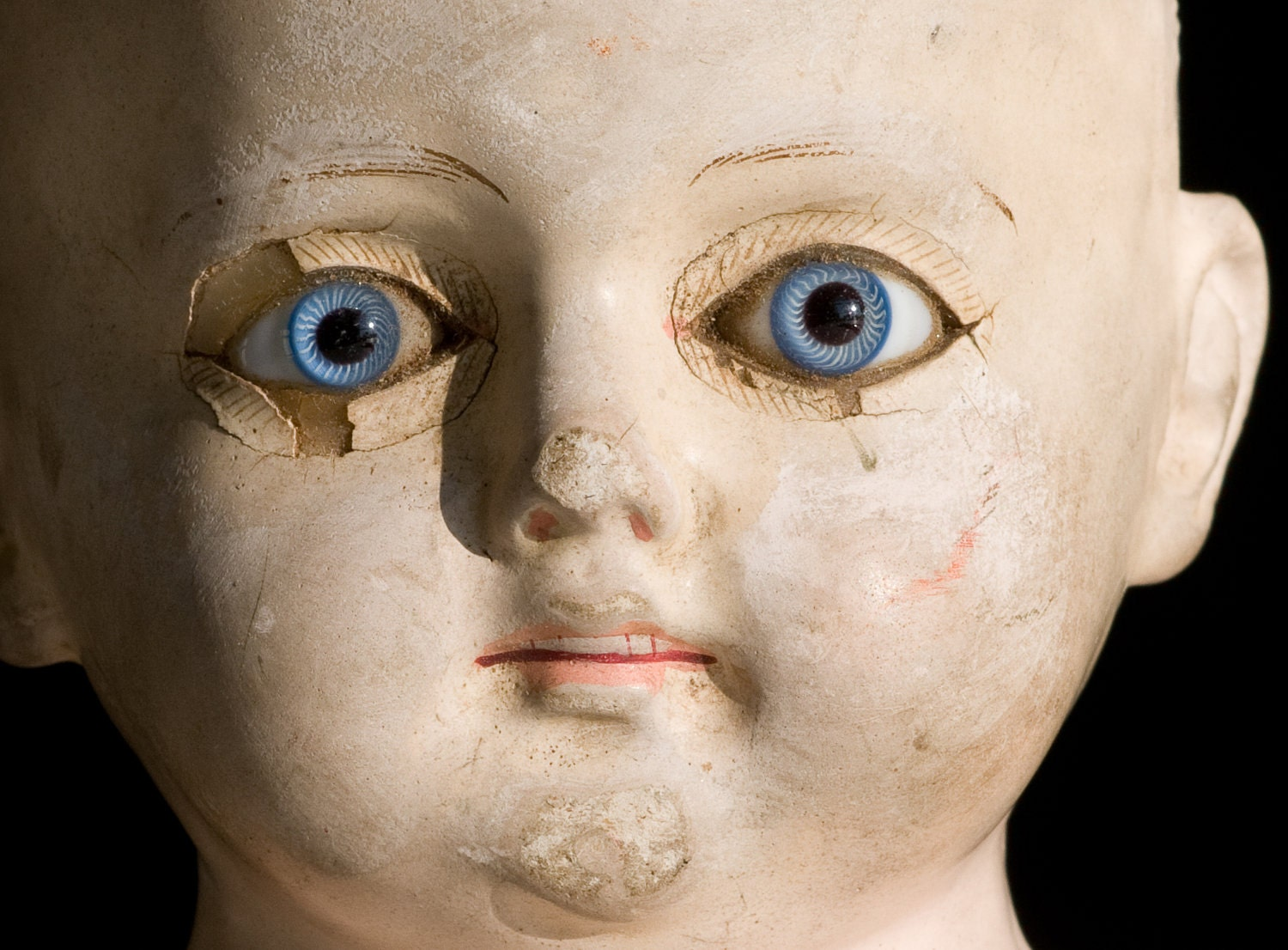 Antique Doll Head With Paperweight Blue Eyes by Pazazz on Etsy