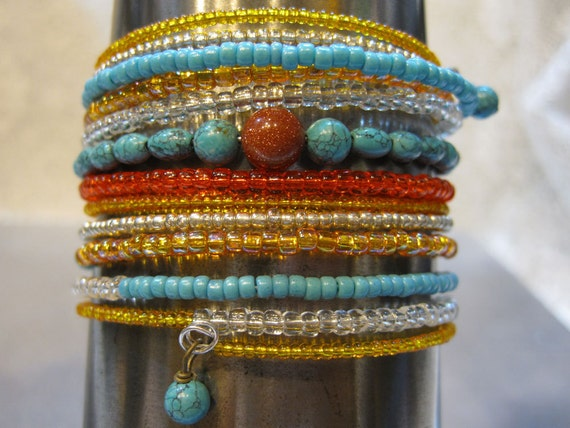 Turquoise Calsilica Goldstone and Seed Bead Stacked Memory Wire Beaded Bracelet Cuff
