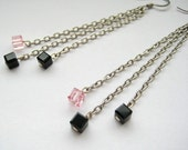 Jet Black and Light Rose Swarovski cube earrings
