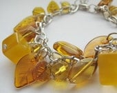 Citrine, mustard chunky charm bracelet - RESERVED for whiletheyplay