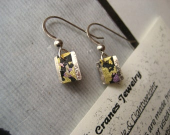 handmade japanese washi origami chiyogami paper sterling silver earrings by cra1nes on etsy