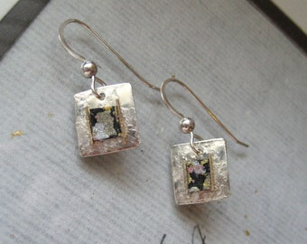 handmade japanese washi origami chiyogami paper sterling silver square drop earrings by cra1nes on etsy
