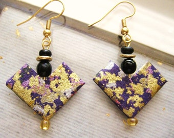 japanese paper origami paper washi paper chiyogami paper washi drop earrings by cra1nes on etsy