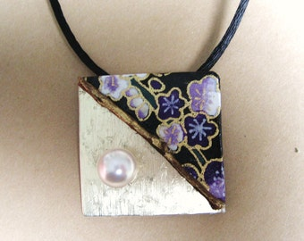 japanese paper washi origami paper chiyogami paper aluminum square pendant by cra1nes on etsy