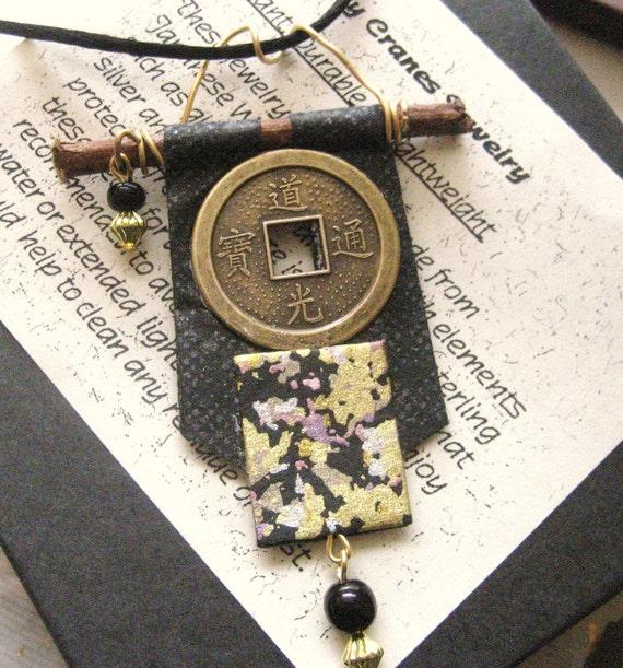 japanese chiyogami washi paper kimono scroll pendant by cra1nes on etsy