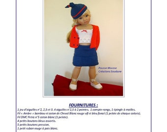 30.  English and  French INSTANT DOWNLOAD PDF knitting Pattern Kid'z'n'cats american girl dolls 18 ""