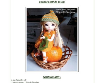 44.English and  French INSTANT DOWNLOAD PDF knitting Pattern  yosd bjd Pukifee Latidolls 6""
