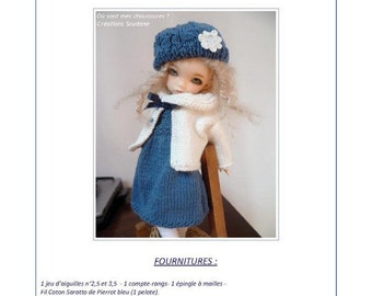 "47. English and  French INSTANT DOWNLOAD PDF knitting Pattern yosd bjd artist dolls 10"""