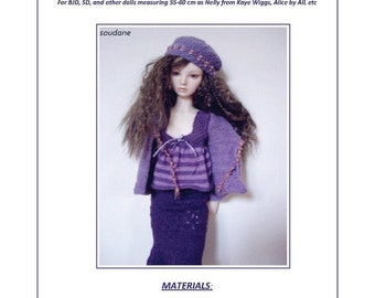 16. English and  French INSTANT DOWNLOAD PDF knitting Pattern  for bjd sd 21""