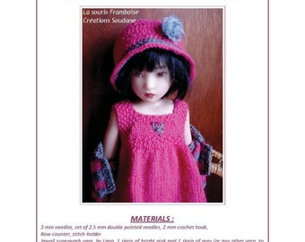 31.  English and  French INSTANT DOWNLOAD PDF knitting Pattern bjd or Helen Kish artist dolls 16""