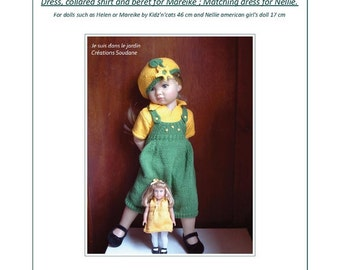 29.  English and  French INSTANT DOWNLOAD PDF knitting Pattern Kid'z'n'cats american girl dolls 18 ""