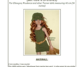 "1. English and French INSTANT DOWNLOAD Pdf knitting  pattern dress and jacket only  for 16"" Ellowyne 16"" and Tonner doll"