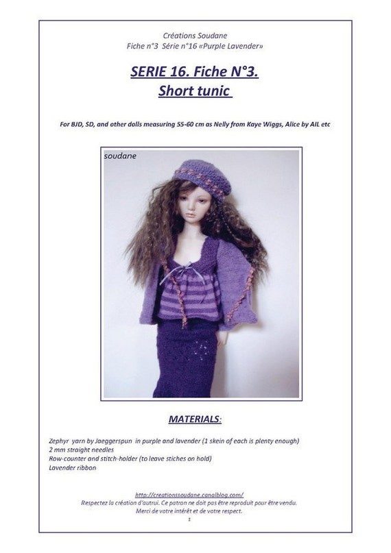 """16. English and  French INSTANT DOWNLOAD PDF knitting Pattern  for bjd sd 21"""""""