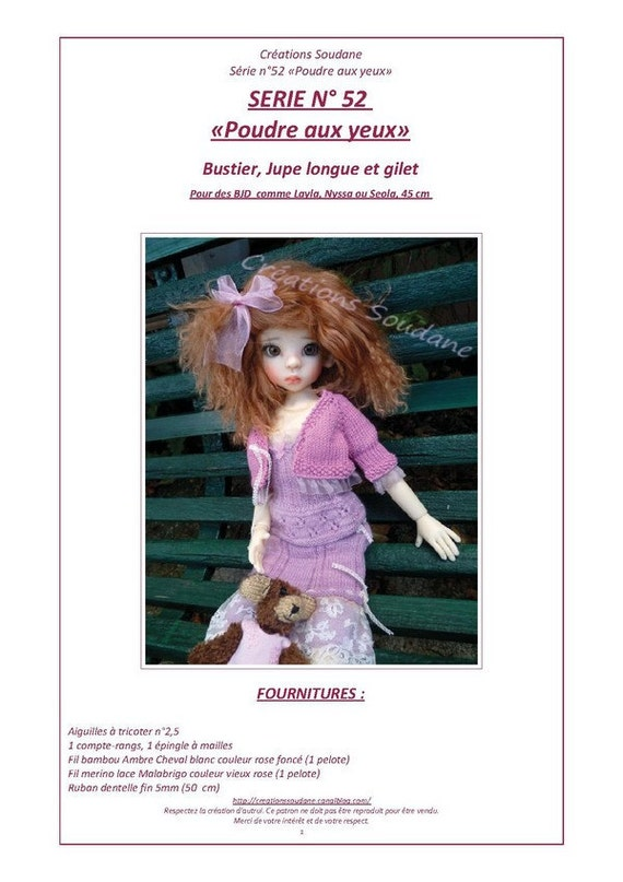 52. English and  French INSTANT DOWNLOAD PDF knitting Pattern msd bjd kaye wiggs dolls dollstown 17""