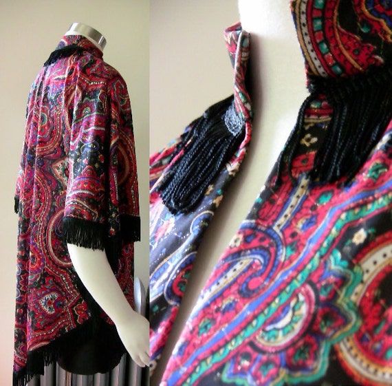 60's - Paisley Shawl with Black Fringe - XS S M L