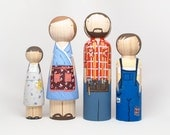 "Personalized Peg Dolls Family of Four // Fully Custom DELUXE Family of Four Peg Dolls 7"" Fair Trade - 4 Dolls -"