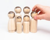 Fair Trade Wooden People - dress 'em up yourself little dolls with brown hair // Childrens Gift Handmade Toys