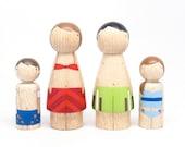 Wooden PEG DOLLS The Bathers // Waldorf Peg dolls Hand-Painted Wooden Peg Dolls Kids Wooden Toys