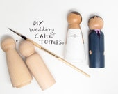 with Express shipping - Wedding Cake Topper Kit with Extra Couple - Do-It-Yourself - Wooden Dolls - Request Colors at Checkout