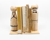 Wooden Doll Bookends // Americana Home Decor // Wood Doll Sophisticated Couple - Goose Grease Peg Dolls - Fair Trade