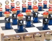 Unique Checker Set Wooden Peg Dolls - Pirates vs. Pirates. MADE to ORDER