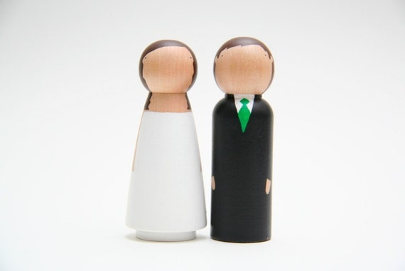 semi-custom wedding cake toppers - ships within 5 days of purchase - request hair\/suit\/tie at checkout