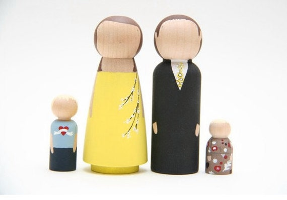 Ready Made Family of Four - Hand-Painted Wooden Peg Dolls - Ready to Ship - Heirloom Toy
